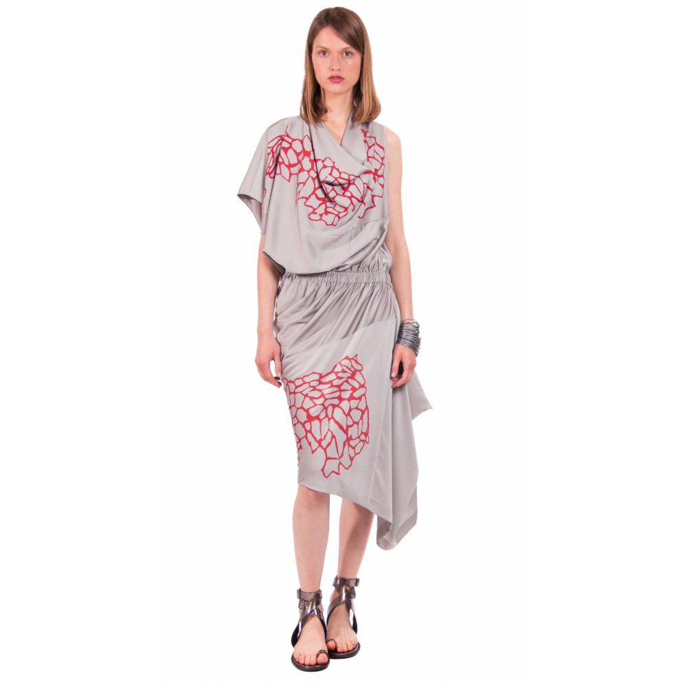 JSP STAMP ASYMMETRIC DRAPE DRESS