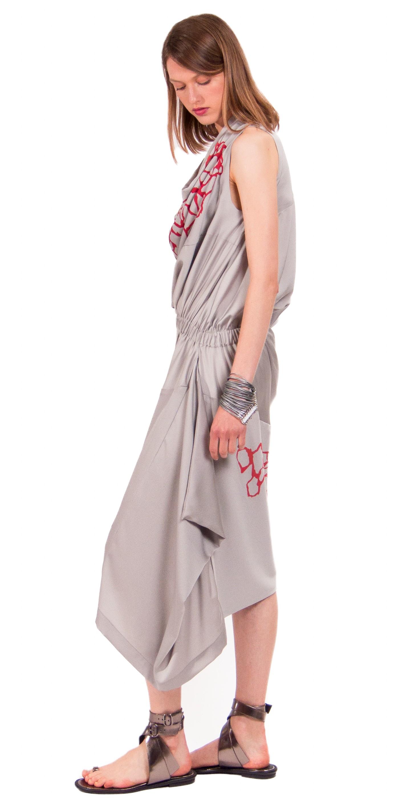 JSP STAMP ASYMMETRIC DRAPE DRESS