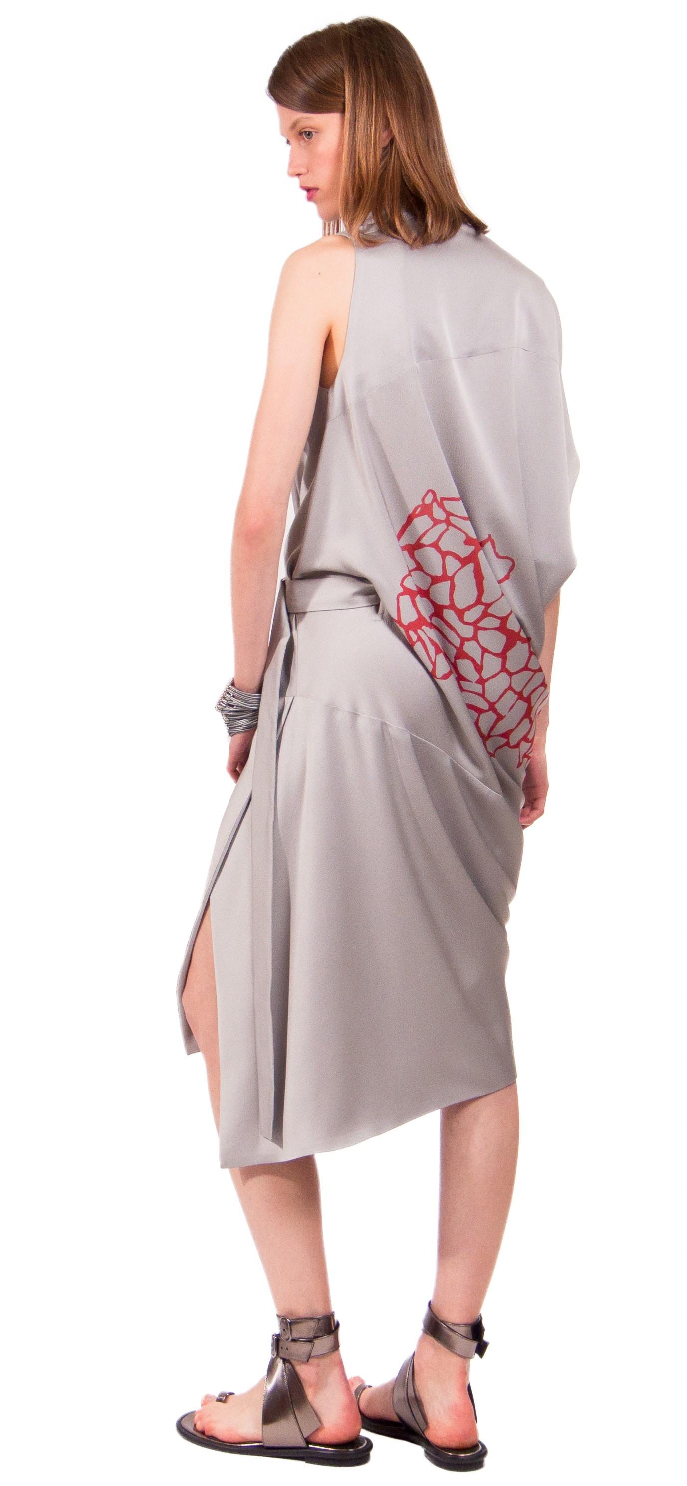 JSP STAMP ASYMMETRIC SLIT DRESS